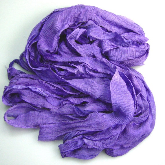 WH Chiffon Silk Sari Ribbon Rhapsody Lilac