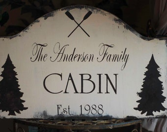 YOUR COLORS Custom Cabin VINTAGE Cottage wood sign