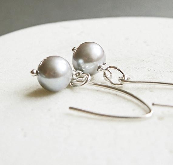 Grey Pearl Earrings - Sterling Silver -  Handmade Earrings -  June Birthstone  - Elegant Earrings  - Pearl Jewelry
