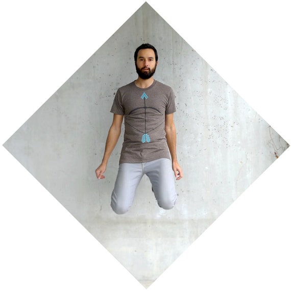 Mens tshirt - brown and turquoise - S/M/L/XL - bow and arrow print on American Apparel track tees - THE HEADHUNTER