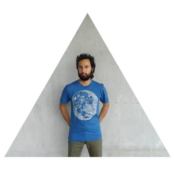 Mens tshirt - organic cotton - MEDIUM - full moon screenprint on American Apparel galaxy blue - fall fashion