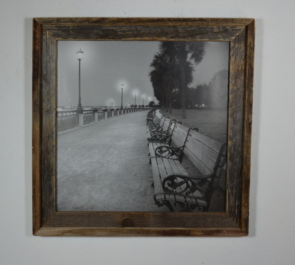 Barnwood Picture Frame 16x16 With Black And White City Beach