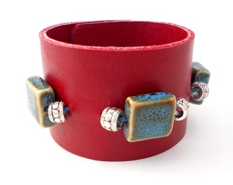 Red Beaded Leather Fashion Cuff Bracelet with Beads, Handmade Leather Jewelry, Women's Leather Accessories