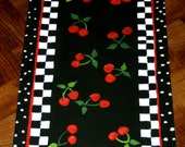 "FLOORCLOTH   hand painted, COTTAGE SHABBY / 30""x56""   Cherries / Polka Dots"