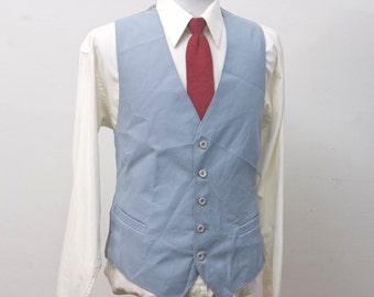 Men's Size 42 Vest Vintage Light Blue Waistcoat