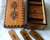 World Tree Elder Futhark Rune Stave set in cedar