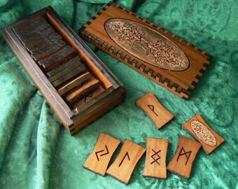 Copper World Tree Elder Futhark Rune Set in Cedar
