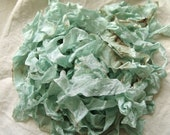 Shabby Chic light aqua wrinkled ribbon coffee stained crinkled seam binding
