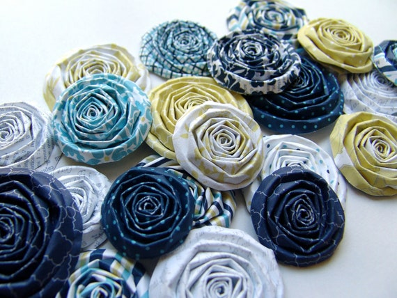 Paper flowers yellow and blue set of 20 handmade paper roses