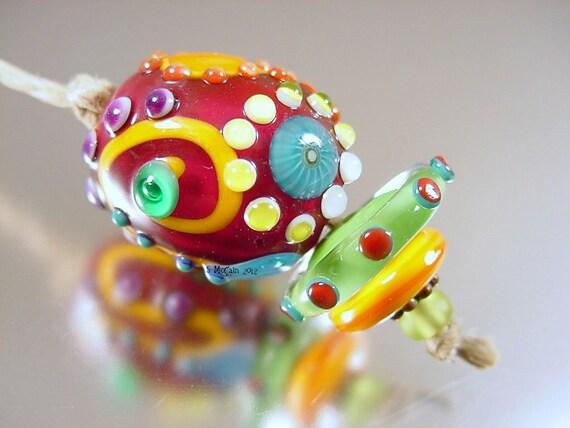 Handmade lampwork glass beads focal bead---ChA cHa---SRA