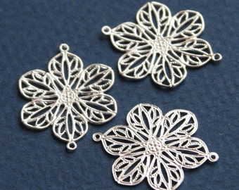 20 pcs of Silver plated  filigree flower links 22mm