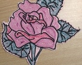 Large Embroidered Rose Iron On Patch