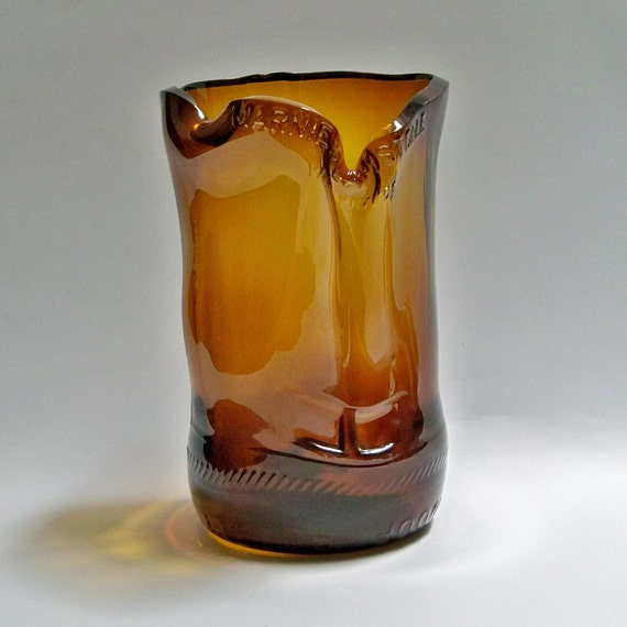 Amber Colored Glass Vase from Recycled Grand Marnier Bottle