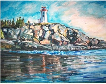 BATTLE ISLAND Lighthouse- 11x15 original watercolor painting seascape ooak from GHART,  Great Lakes, Lake Superior, Light, Water, Rock, Blue