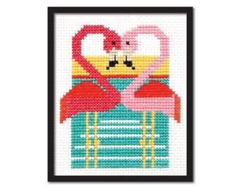 Pink Flamingoes Cross Stitch Pattern Instant Download