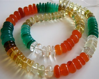 30% OFF 1/2 Strand of Pretty Multi Semi Precious Smooth Button Rondelles 4x7mm - 2x9mm Gemstone Beadss