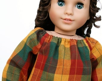 Fits like American Girl Doll Clothes - Autumn Plaid Peasant Top - Made To Order