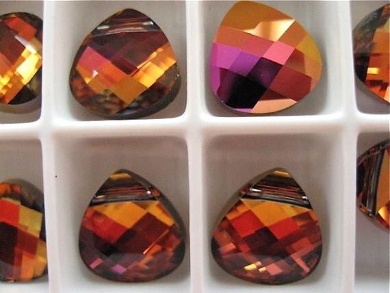 6 Light Rose Volcano Swarovski Crystals Pendants Briolette 6012 11mm