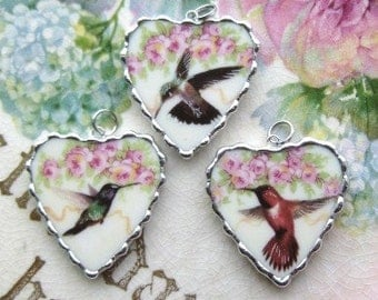Vintage - Recycled Broken China - Choice of Hummingbird - Pendant -