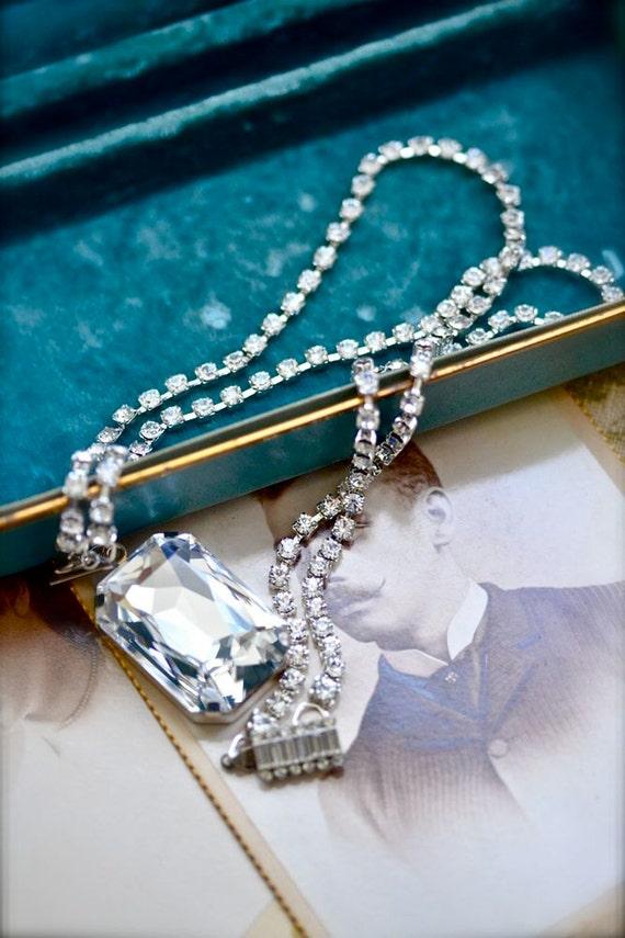 Old Hollywood Crystal Necklace - Rhinestone Chain - Swarovski