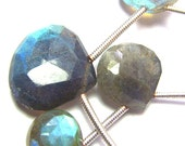 Strand of 17 Top Grade LABRADORITE Faceted Heart Briolettes - 8.2 to 13.3 mm.   (ref.15485)