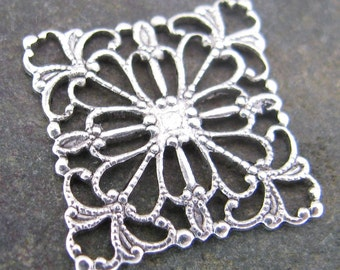 Square Brass Filigree Finding Antique Silver 329 - 12 Pieces