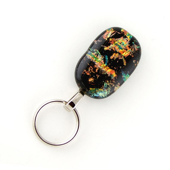 magnetic id badge holder - multi-colored dichroic fused glass