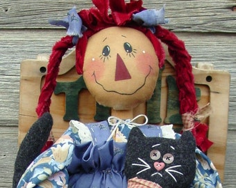 CF169 Pigtail Annie - PDF ePattern Cloth Doll Pattern Raggedy, Black Cat