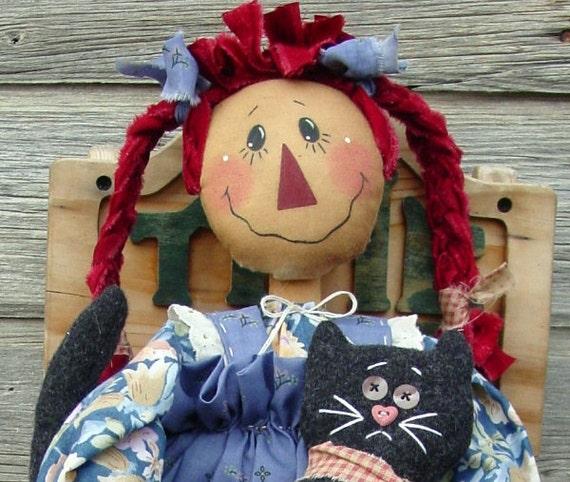 CF169 Pigtail Annie - PDF ePattern Cloth Doll Pattern Raggedy, Black Cat