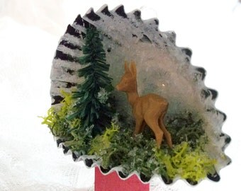 Christmas Heirloom Retro Shadow Box  Diorama Assemblage Mixed Media Vintage German Fawn Doe Ornament Vintage Style