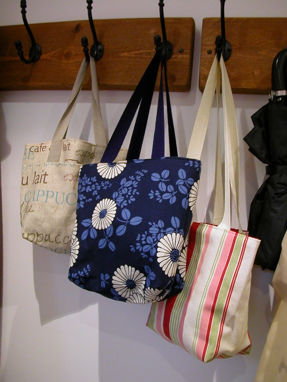 Custom small tote- washable with inside and outside pocket- made to order