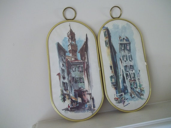 Midcentury Watercolor Prints R. Snapper Cityscapes Set of 2