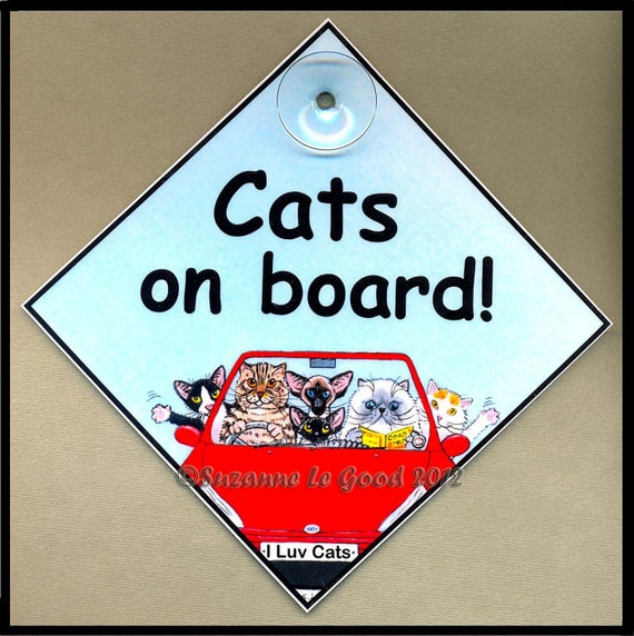 Items similar to cats on board laminated cat in car