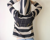 striped hoodie with studs and zipper medium