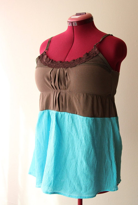 reconstructed spaghetti strap tank top with gold crochet doily accent medium