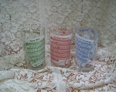 """Three Retro Glasses - 40's Tunes on Side - 5"""" high - Match Cocktail Shaker"""