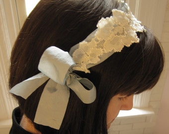 Wedding headpiece - blue gossamer ribbon with ivory lace applique - bridal headband  Made To Order