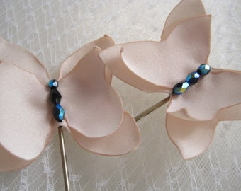 bridal hairpins -  custom set of 2 bobbypins in nude matte satin - Made To Order - BUTTERFLIES