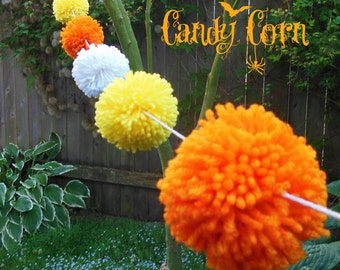 Yarn Pom Pom Garland - Halloween Candy Corn