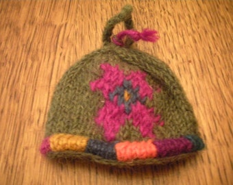 Sweet Little Icelandic Knitted Doll Hat Ornament