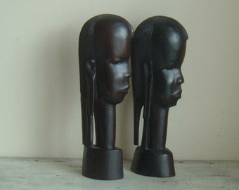 vintage ebony wood African heads