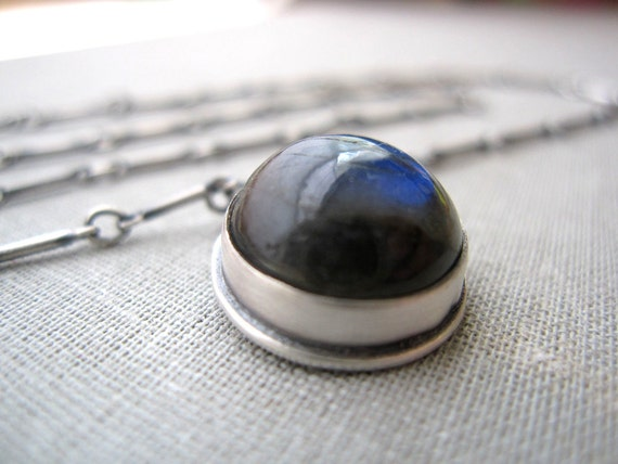 Blue Dot Necklace - Sterling Silver and Labradorite Stone