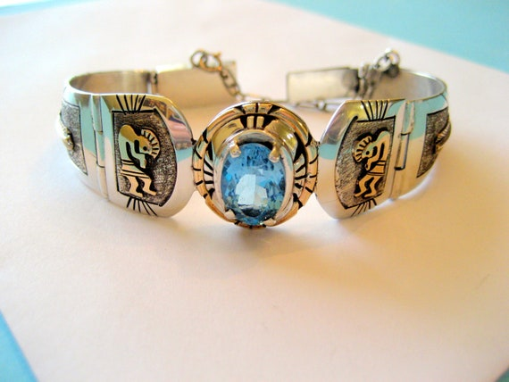 SALE....Navajo Charles Johnson Sterling and Gold Overlay Bracelet