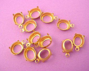 24 brass Oval Prong  10x8 Settings 1 ring Loop open Back