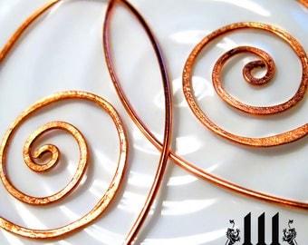 Whimsical Spiral Copper Earrings 20 Gauge
