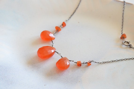 Rustic Carnelian Briolettes Oxidized Sterling Silver Necklace
