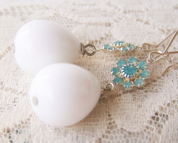 Baubles, Big Bead Dangle Earrings, white in silver plate, long dangle