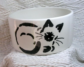 Siamese Stencil Cat Medium Cat Bowl  Paw Prints Inside 20 Oz. Ceramic