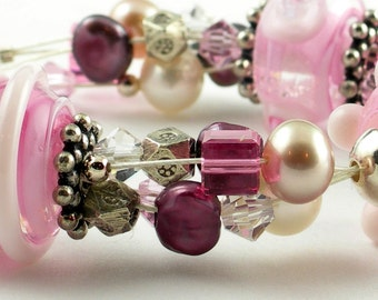 Pink Lampwork Bead Bracelet with Pearls, Crystals, Sterling Silver - Pretty in Pink