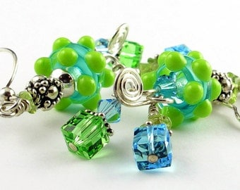Aqua and Lime Lampwork Glass Earrings with Peridot, Crystals and Sterling Silver